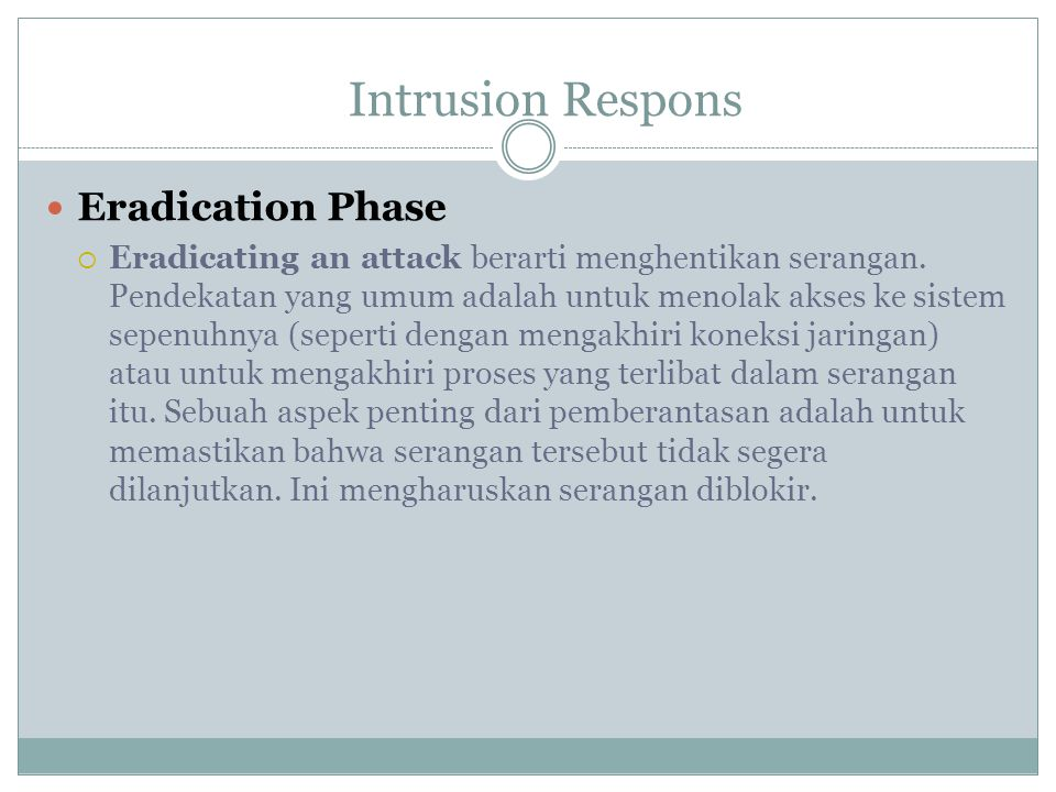 Intrusion Respons Eradication Phase