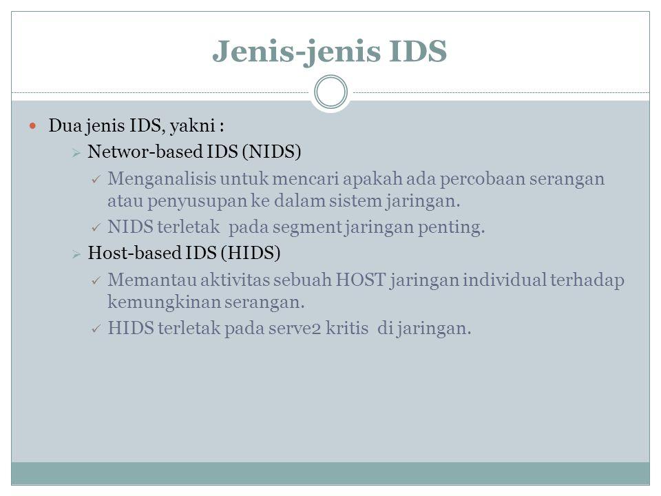 Jenis-jenis IDS Dua jenis IDS, yakni : Networ-based IDS (NIDS)