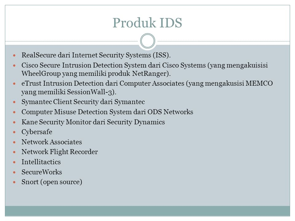Produk IDS RealSecure dari Internet Security Systems (ISS).