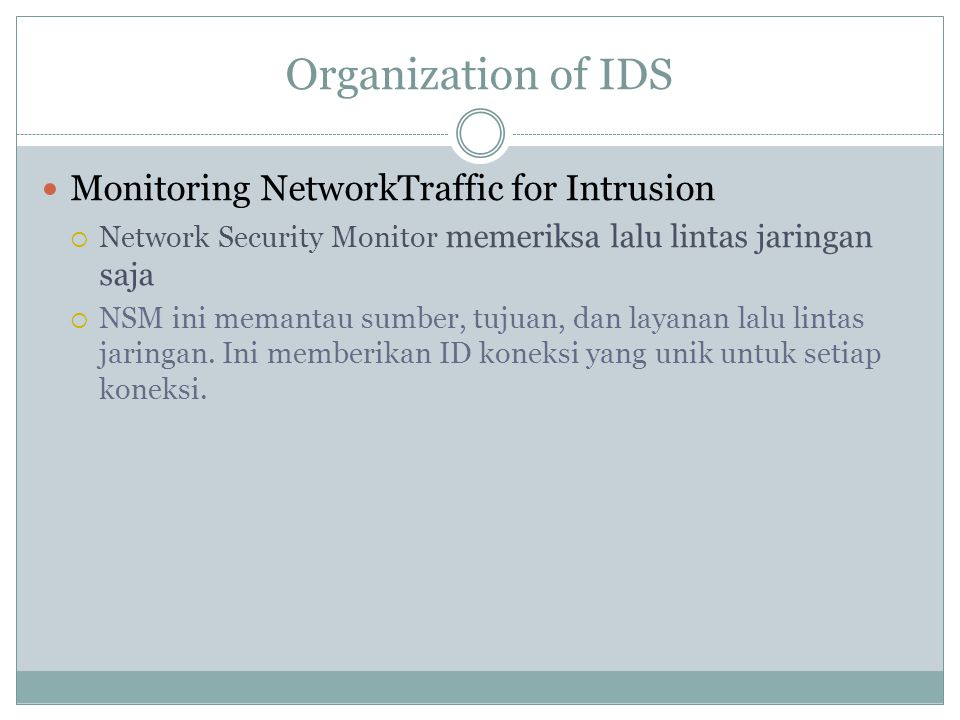 Organization of IDS Monitoring NetworkTraffic for Intrusion