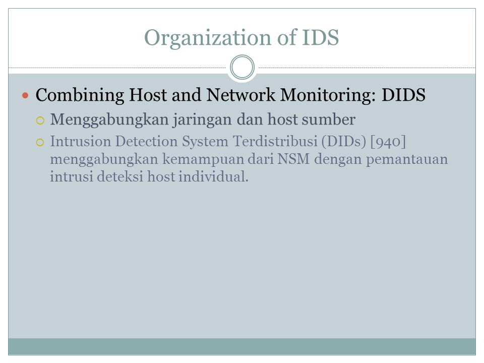 Organization of IDS Combining Host and Network Monitoring: DIDS