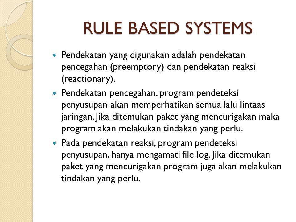 RULE BASED SYSTEMS Pendekatan yang digunakan adalah pendekatan pencegahan (preemptory) dan pendekatan reaksi (reactionary).