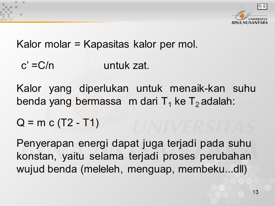 Kalor molar = Kapasitas kalor per mol.