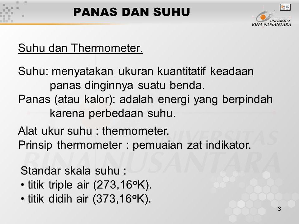 PANAS DAN SUHU Suhu dan Thermometer. Suhu: menyatakan ukuran kuantitatif keadaan panas dinginnya suatu benda.