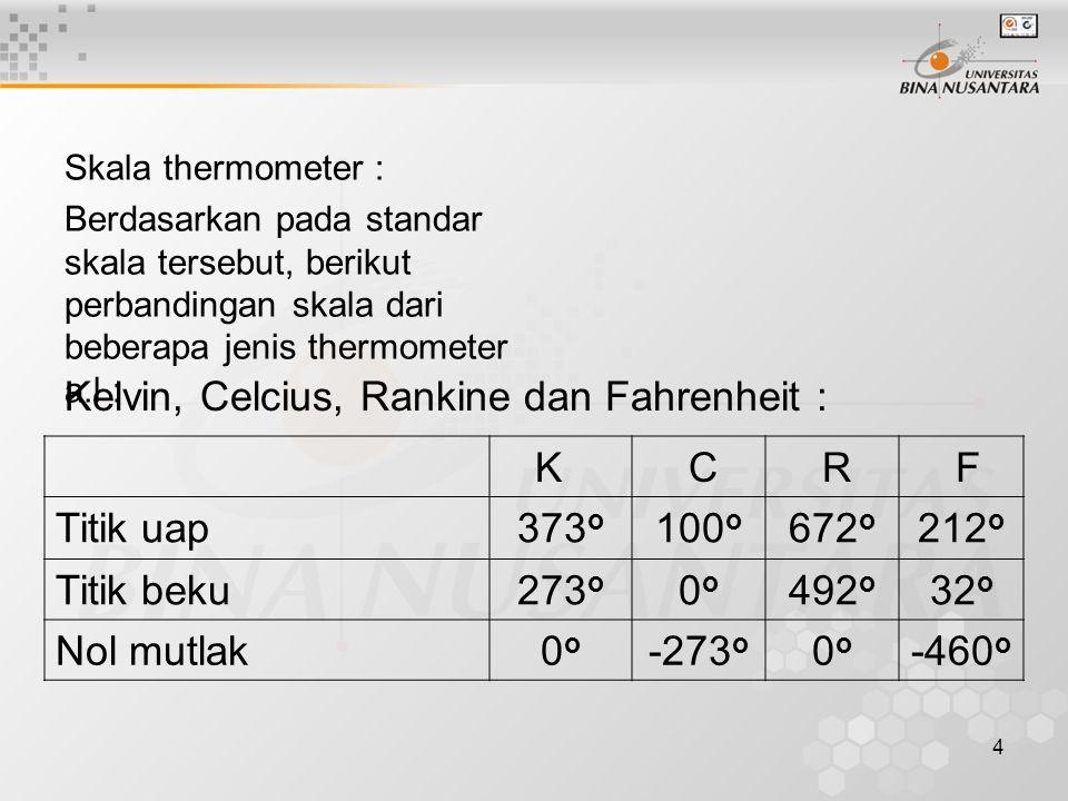 Kelvin, Celcius, Rankine dan Fahrenheit : K C R F Titik uap 373o 100o