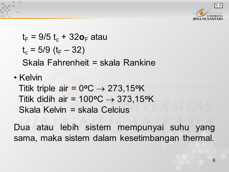 tF = 9/5 tc + 32oF atau tc = 5/9 (tF – 32) Skala Fahrenheit = skala Rankine. Kelvin. Titik triple air = 0oC  273,15oK.