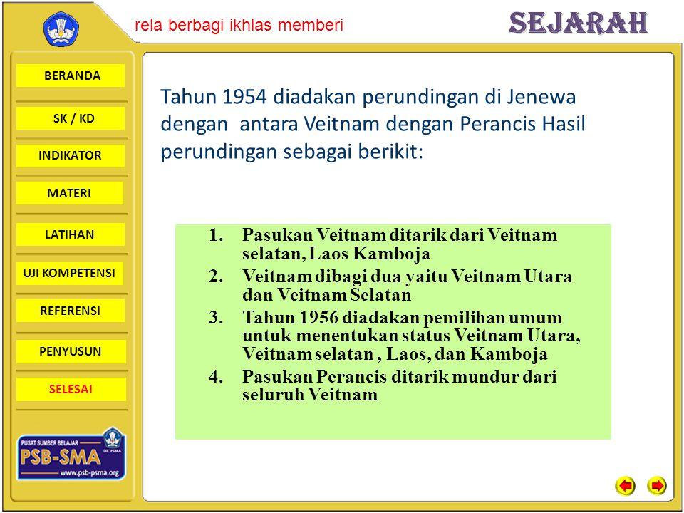 Tahun 1954 diadakan perundingan di Jenewa dengan antara Veitnam dengan Perancis Hasil perundingan sebagai berikit: