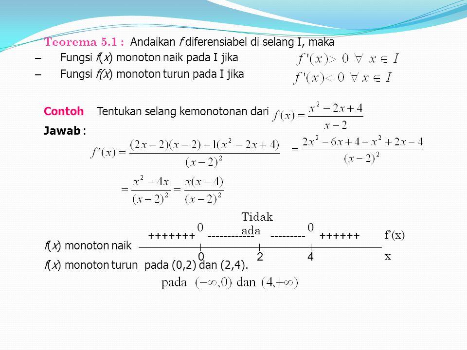 Teorema 5.1 : Andaikan f diferensiabel di selang I, maka