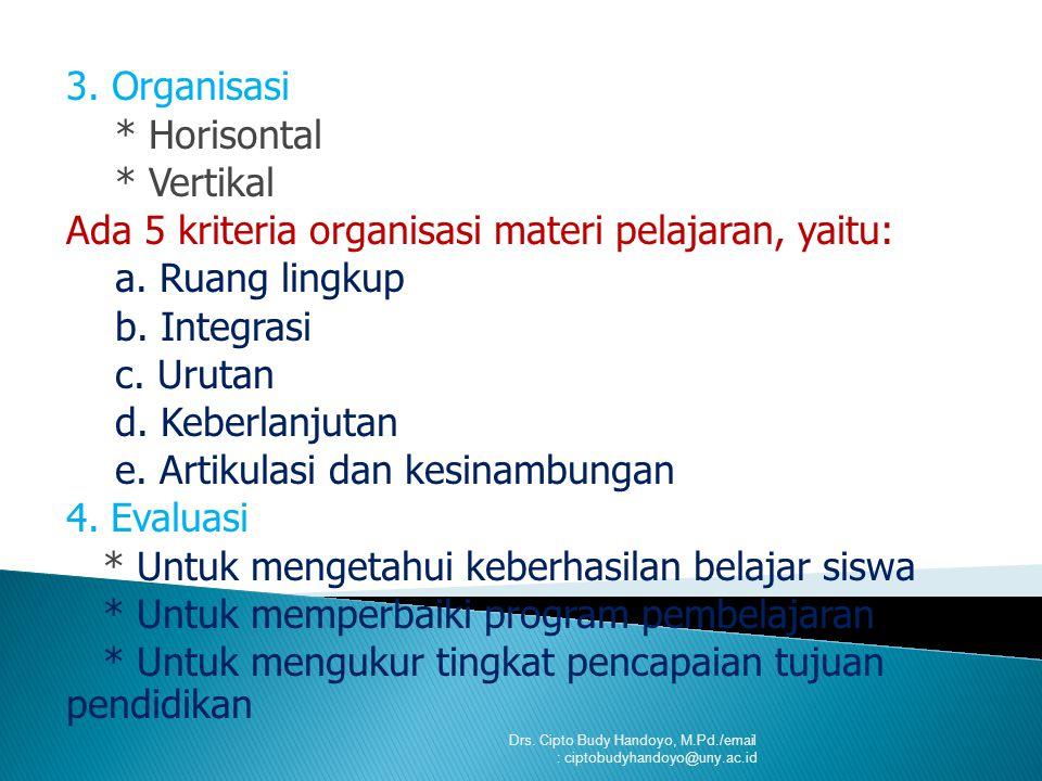 Ada 5 kriteria organisasi materi pelajaran, yaitu: a. Ruang lingkup