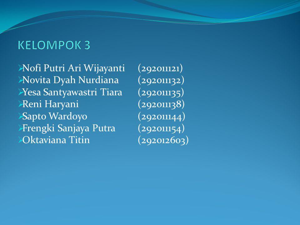 KELOMPOK 3 Nofi Putri Ari Wijayanti (292011121)