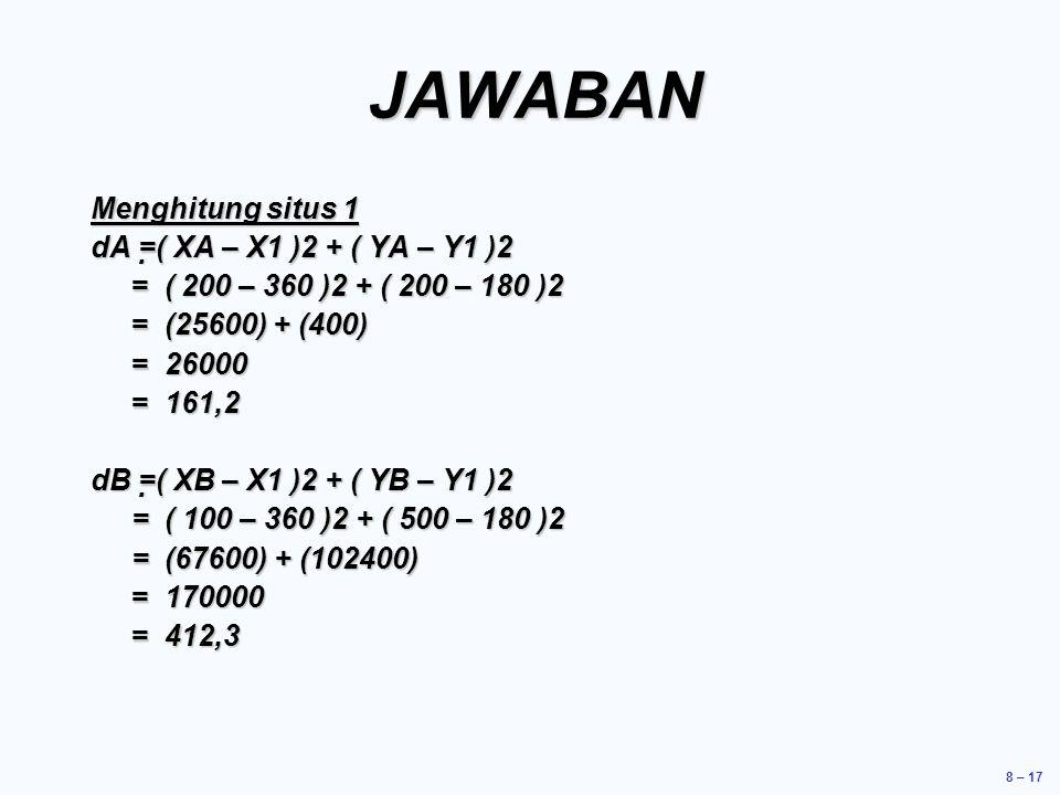 JAWABAN Menghitung situs 1 dA =( XA – X1 )2 + ( YA – Y1 )2