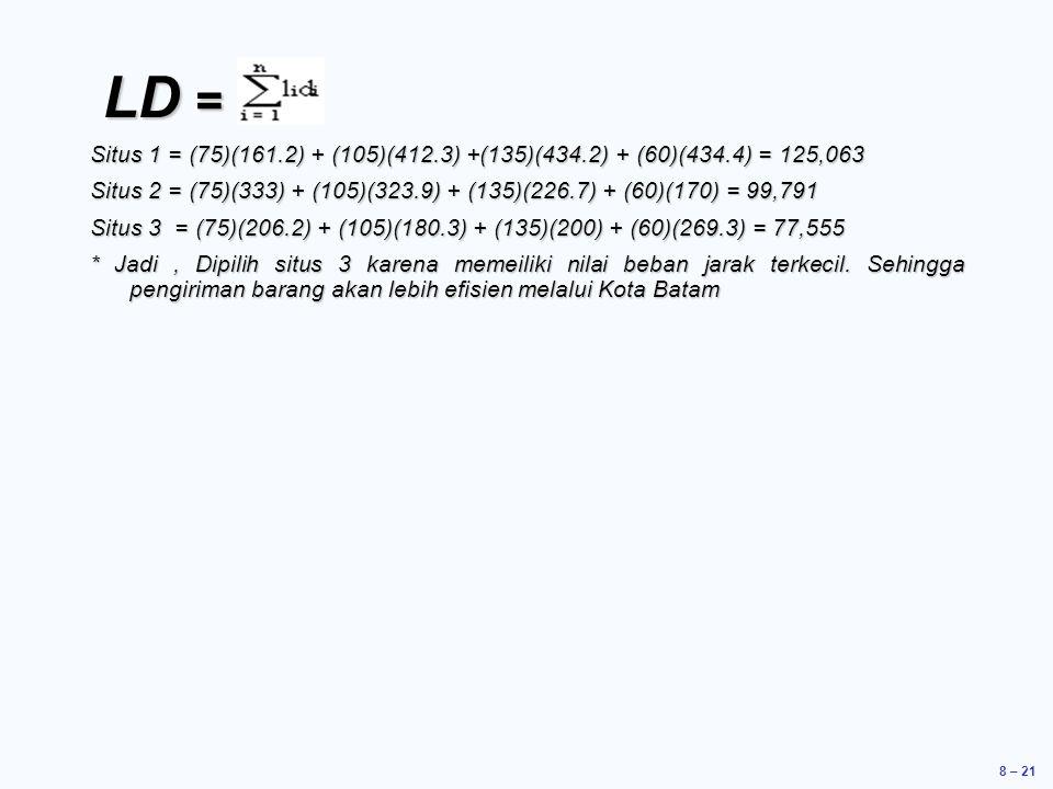 LD = Situs 1 = (75)(161.2) + (105)(412.3) +(135)(434.2) + (60)(434.4) = 125,063.