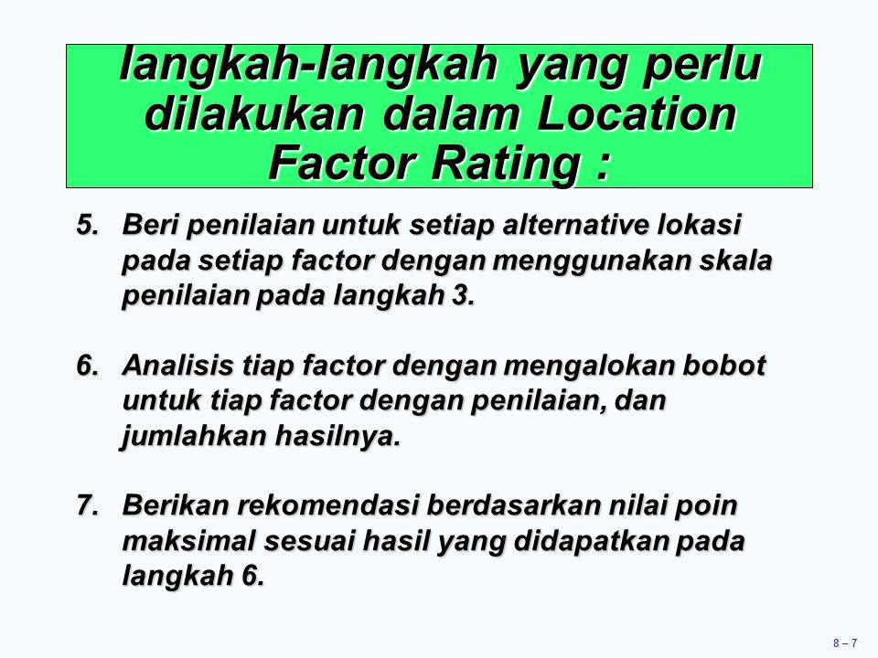 langkah-langkah yang perlu dilakukan dalam Location Factor Rating :