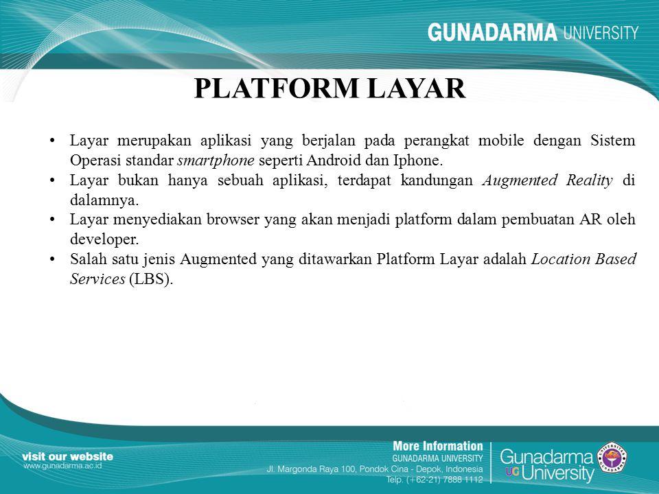 PLATFORM LAYAR Layar merupakan aplikasi yang berjalan pada perangkat mobile dengan Sistem Operasi standar smartphone seperti Android dan Iphone.