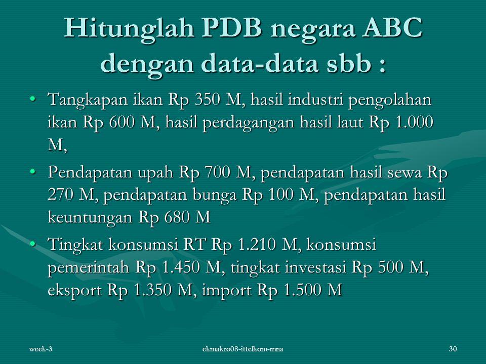 Hitunglah PDB negara ABC dengan data-data sbb :