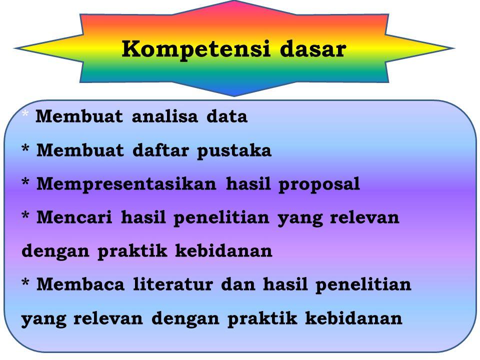 Kompetensi dasar * Membuat analisa data * Membuat daftar pustaka