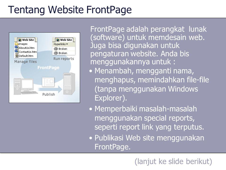 Tentang Website FrontPage
