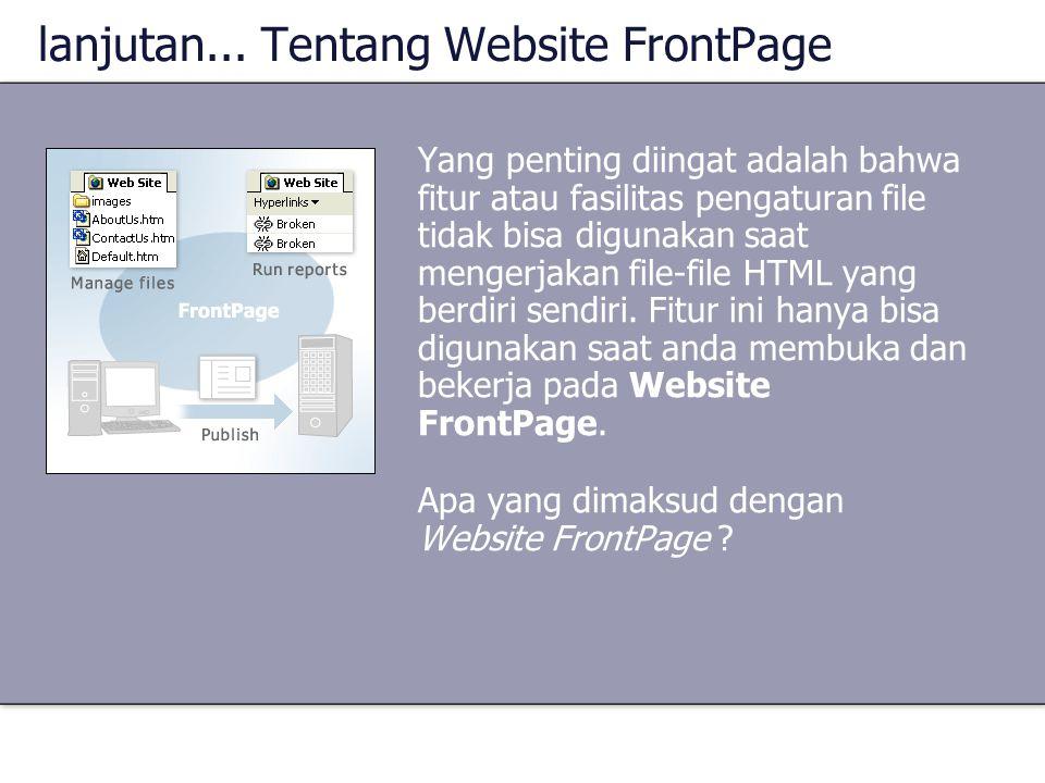 lanjutan... Tentang Website FrontPage