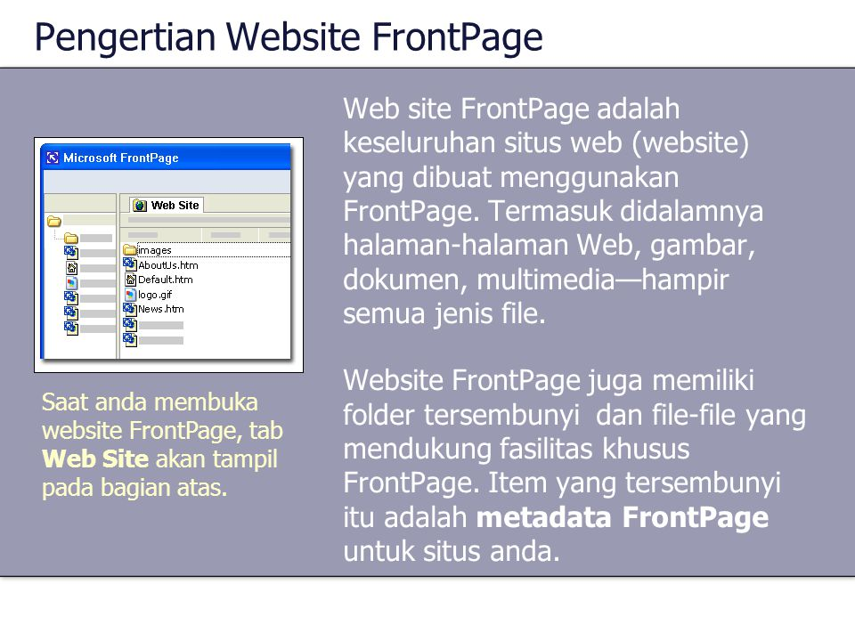 Pengertian Website FrontPage