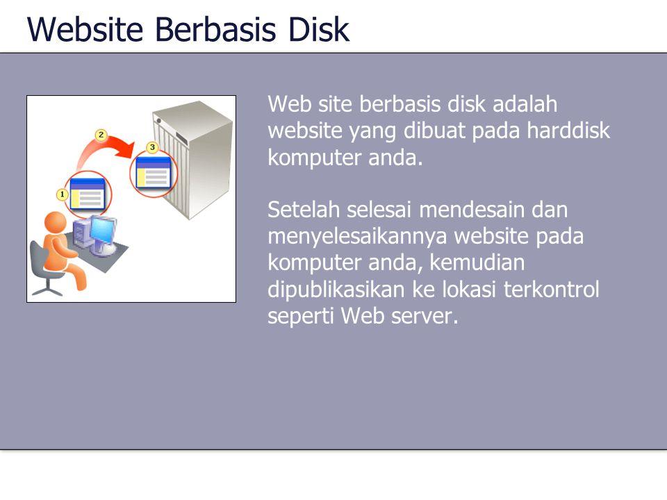 Website Berbasis Disk Web site berbasis disk adalah website yang dibuat pada harddisk komputer anda.
