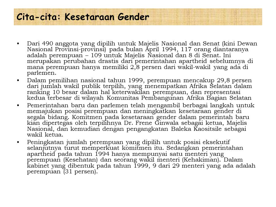 Cita-cita: Kesetaraan Gender