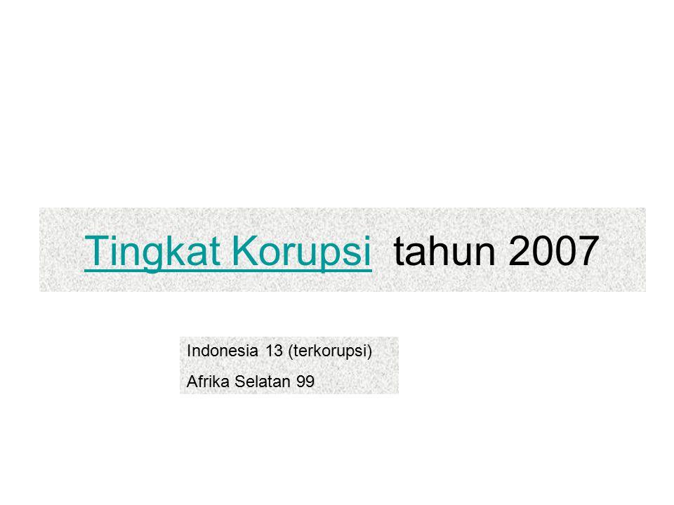 Tingkat Korupsi tahun 2007 Indonesia 13 (terkorupsi) Afrika Selatan 99