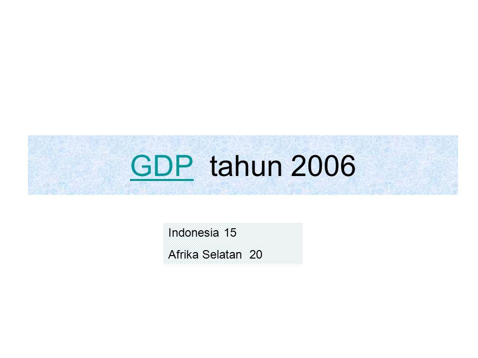 GDP tahun 2006 Indonesia 15 Afrika Selatan 20