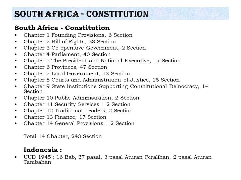 South Africa - Constitution