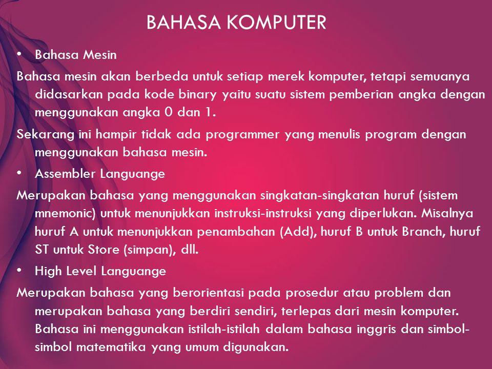 BAHASA KOMPUTER Bahasa Mesin