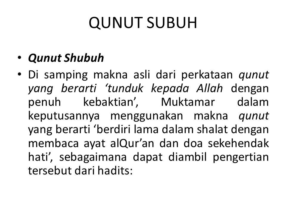 QUNUT SUBUH Qunut Shubuh