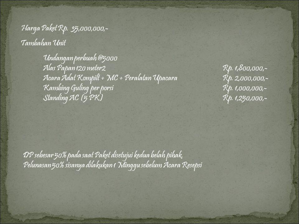 Harga Paket Rp. 35,000,000,- Tambahan Unit. Undangan perbuah @5000. Alas Papan 120 meter2 Rp. 1,800,000,-