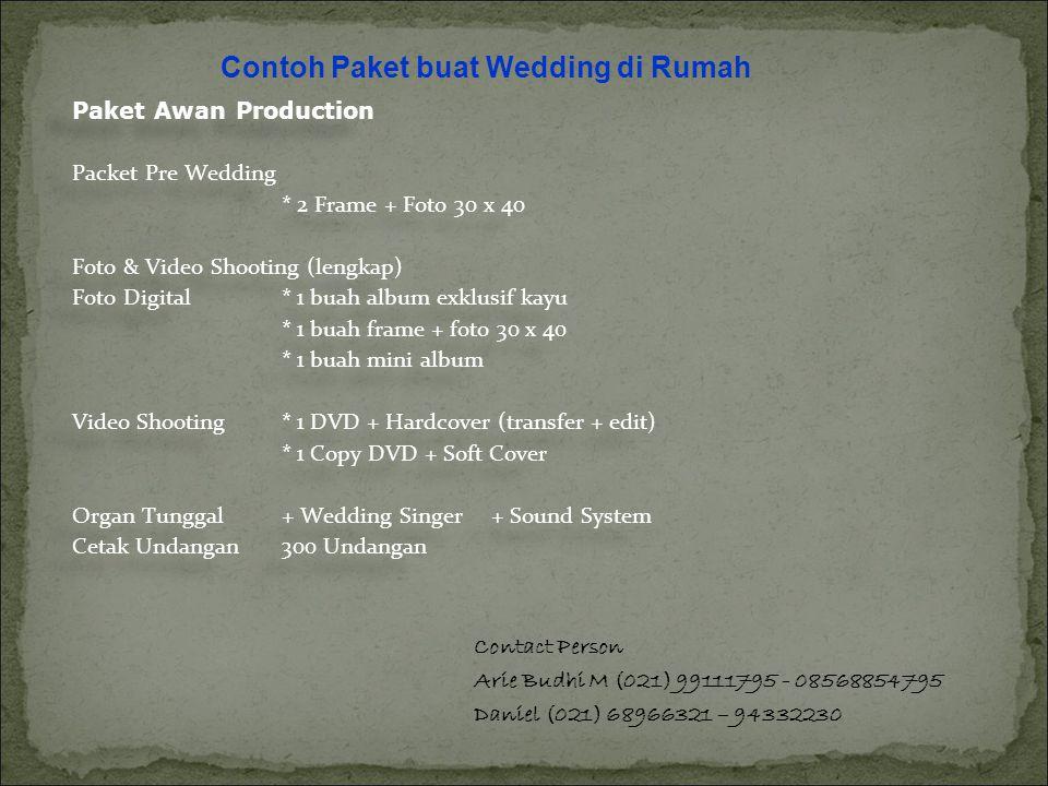 Contoh Paket buat Wedding di Rumah