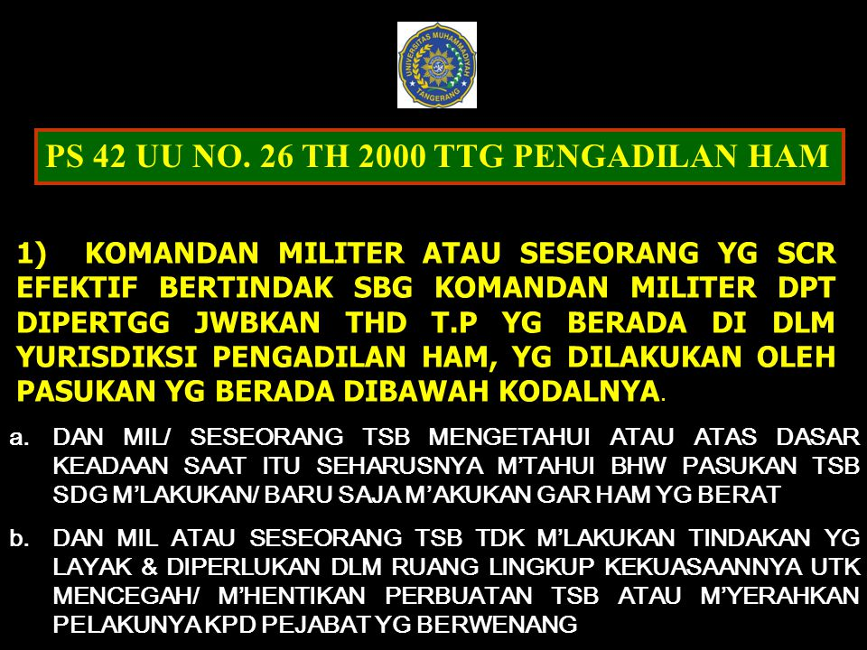 PS 42 UU NO. 26 TH 2000 TTG PENGADILAN HAM
