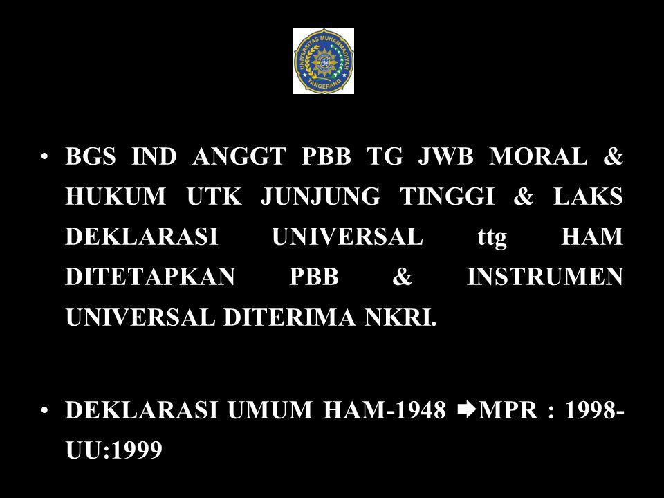 BGS IND ANGGT PBB TG JWB MORAL & HUKUM UTK JUNJUNG TINGGI & LAKS DEKLARASI UNIVERSAL ttg HAM DITETAPKAN PBB & INSTRUMEN UNIVERSAL DITERIMA NKRI.