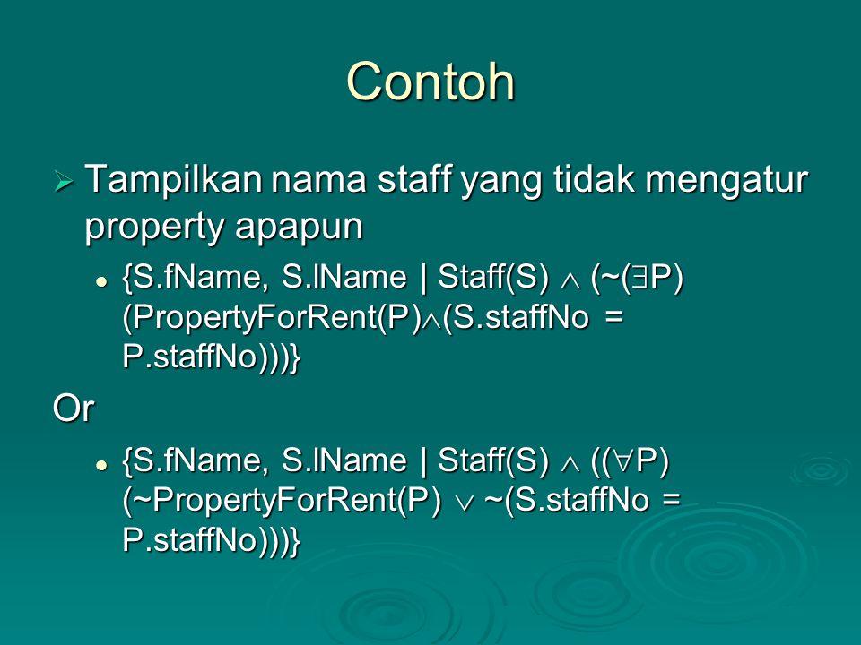 Contoh Tampilkan nama staff yang tidak mengatur property apapun Or