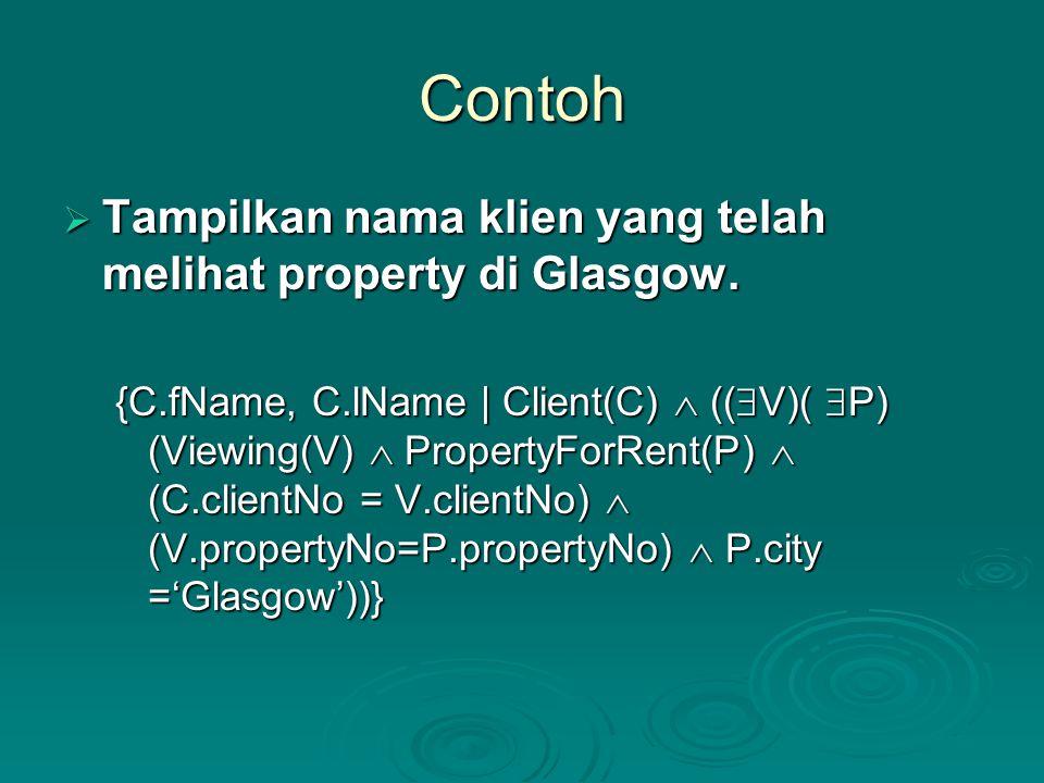 Contoh Tampilkan nama klien yang telah melihat property di Glasgow.