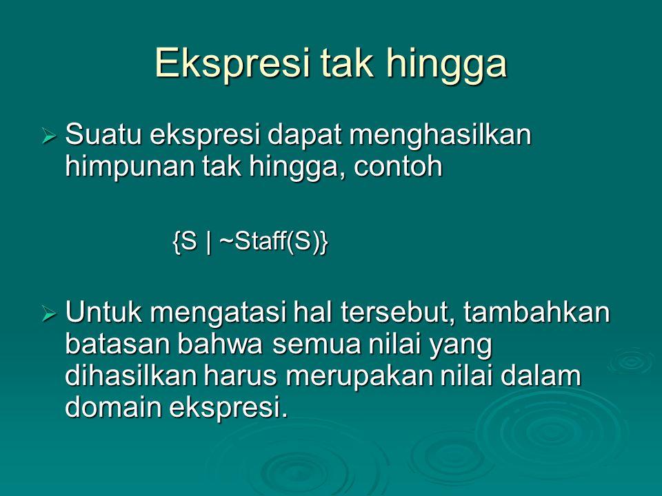 Ekspresi tak hingga Suatu ekspresi dapat menghasilkan himpunan tak hingga, contoh. {S | ~Staff(S)}