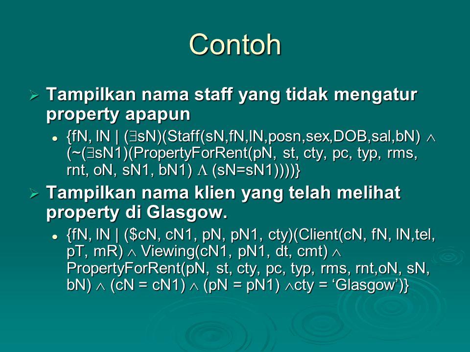 Contoh Tampilkan nama staff yang tidak mengatur property apapun