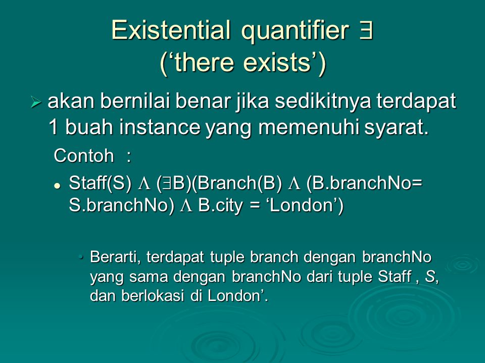 Existential quantifier  ('there exists')