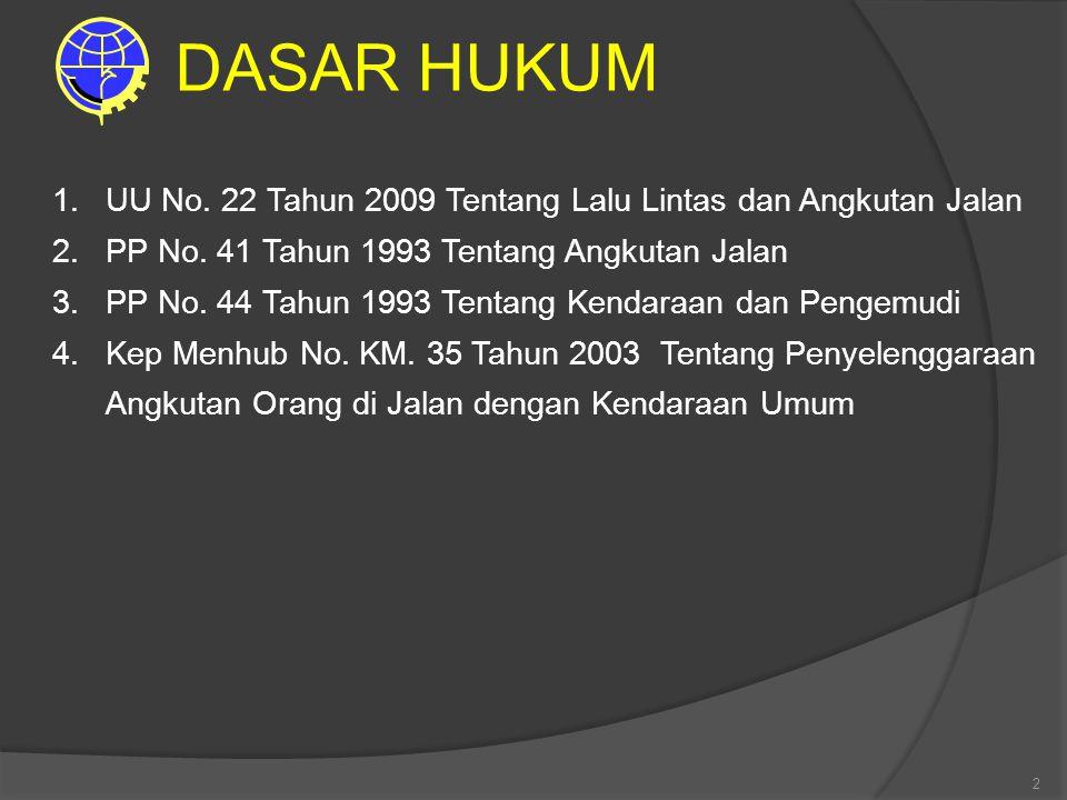 . DASAR HUKUM. UU No. 22 Tahun 2009 Tentang Lalu Lintas dan Angkutan Jalan. PP No. 41 Tahun 1993 Tentang Angkutan Jalan.
