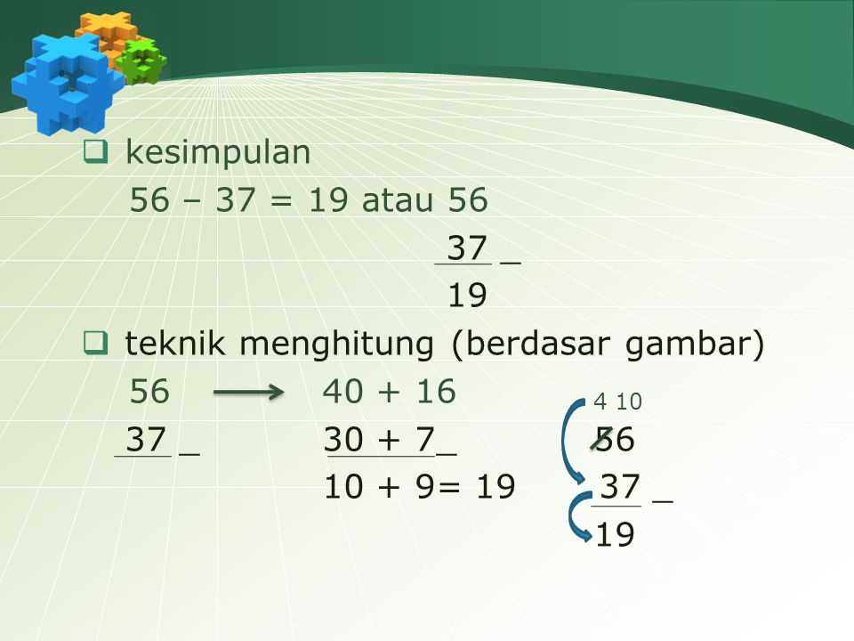 kesimpulan 56 – 37 = 19 atau 56. 37 _. 19. teknik menghitung (berdasar gambar) 56 40 + 16 4 10.