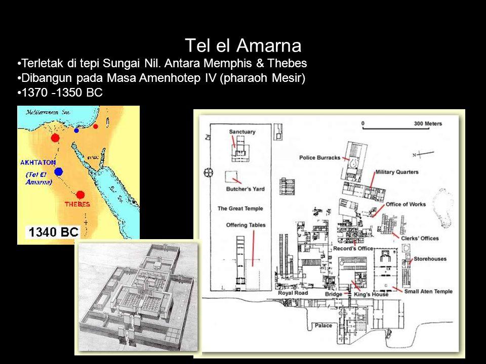 Tel el Amarna Terletak di tepi Sungai Nil. Antara Memphis & Thebes