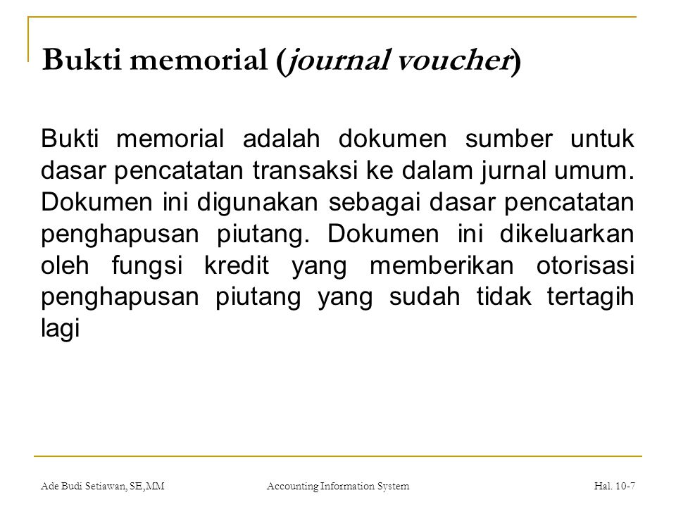 Bukti memorial (journal voucher)