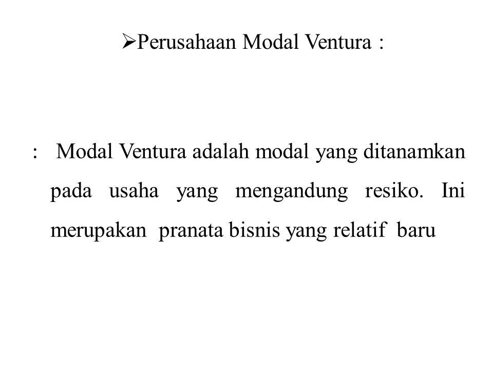 Perusahaan Modal Ventura :