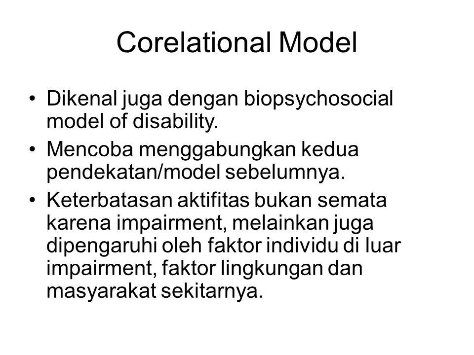 Corelational Model Dikenal juga dengan biopsychosocial model of disability. Mencoba menggabungkan kedua pendekatan/model sebelumnya.