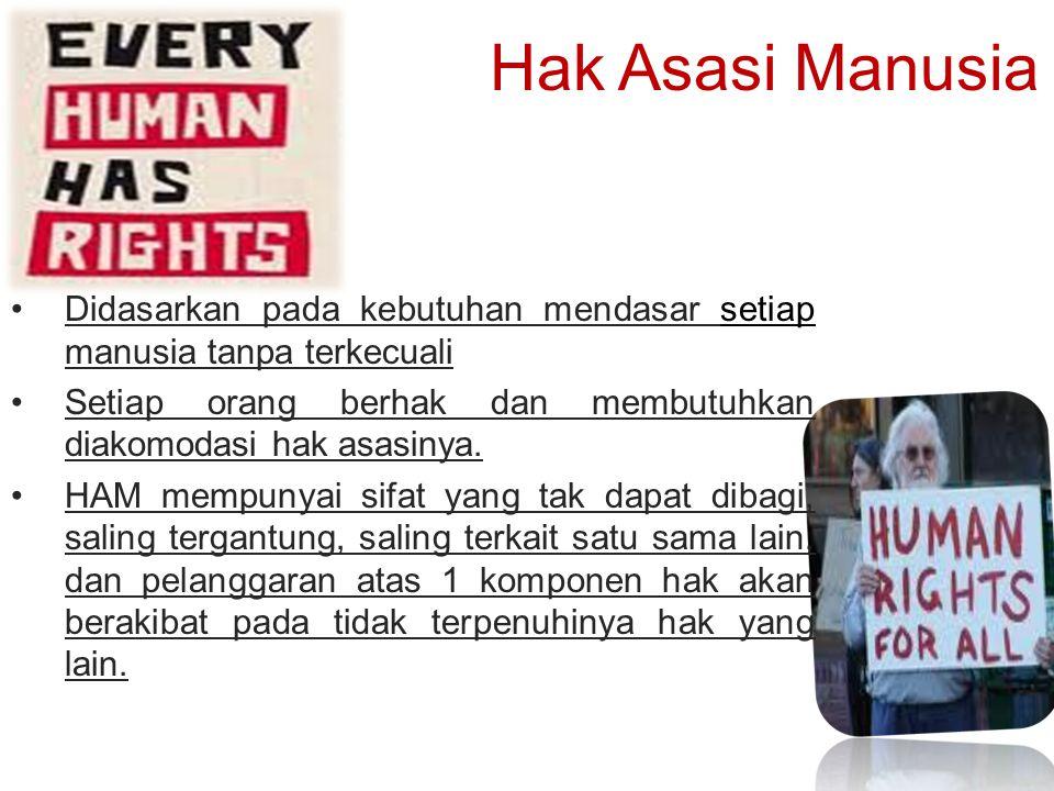 Hak Asasi Manusia Didasarkan pada kebutuhan mendasar setiap manusia tanpa terkecuali.