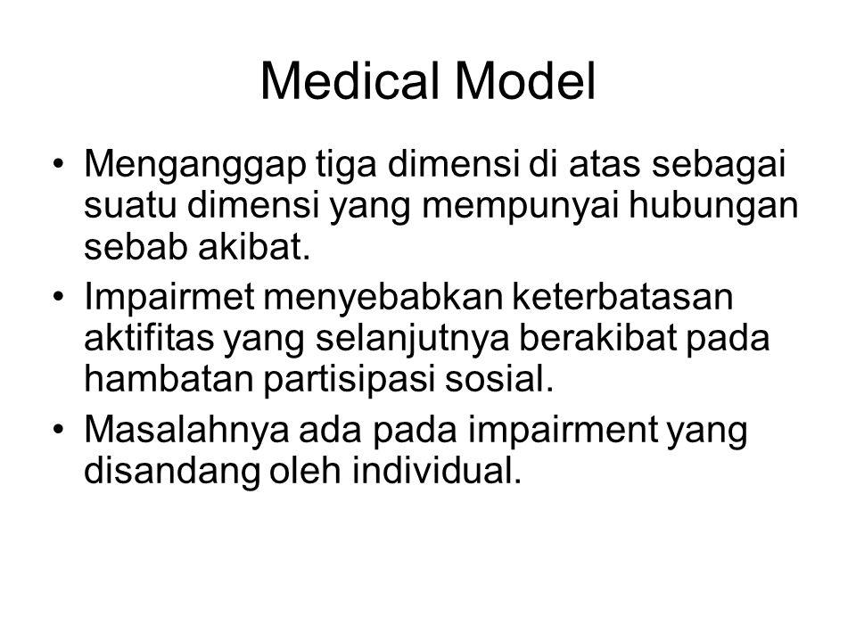 Medical Model Menganggap tiga dimensi di atas sebagai suatu dimensi yang mempunyai hubungan sebab akibat.