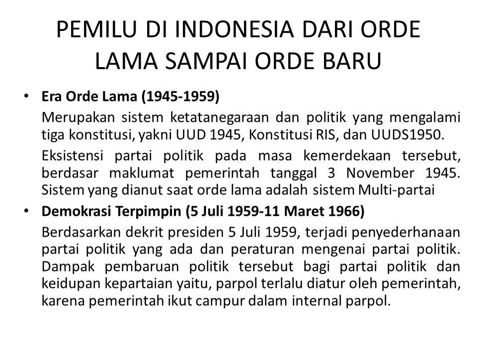 PEMILU DI INDONESIA DARI ORDE LAMA SAMPAI ORDE BARU