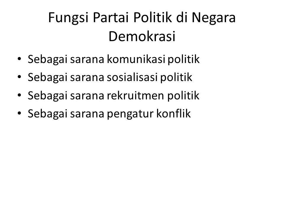 Fungsi Partai Politik di Negara Demokrasi