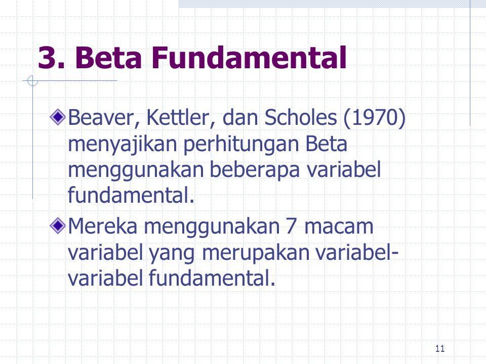 3. Beta Fundamental Beaver, Kettler, dan Scholes (1970) menyajikan perhitungan Beta menggunakan beberapa variabel fundamental.